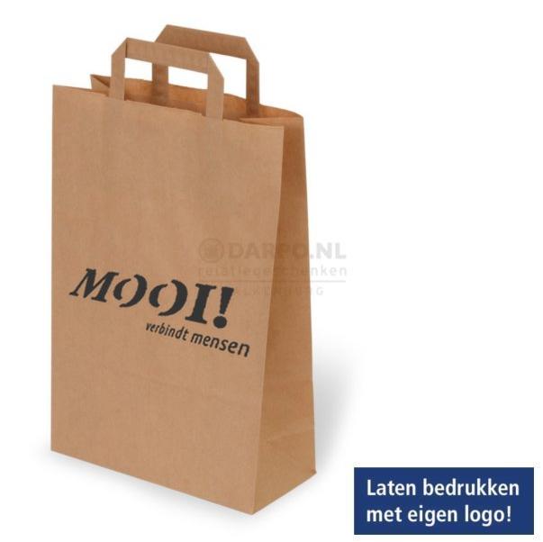 Bruine papieren draagtassen bedrukt met uw eigen logo en teksten.