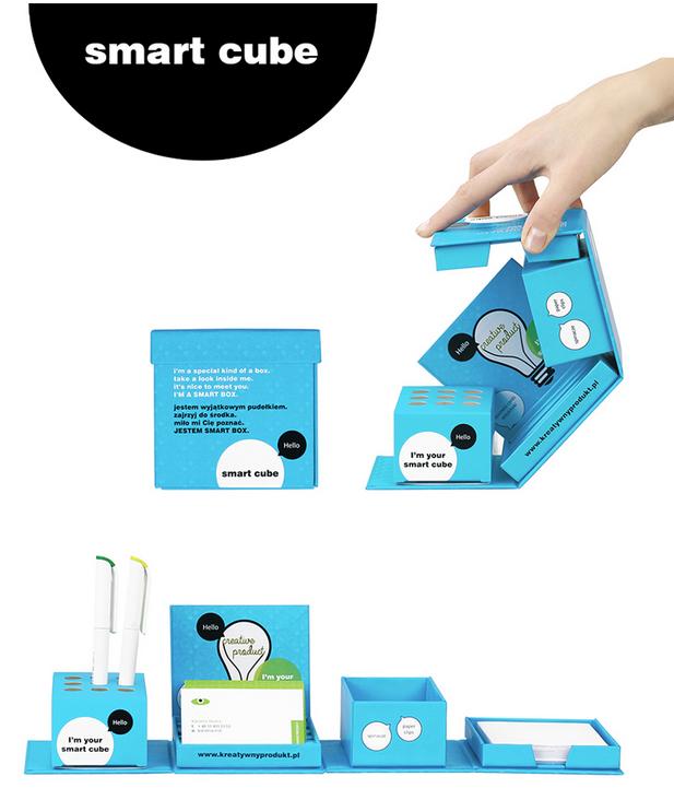 Smart Cube, kartonnen kubus, bureauhouder