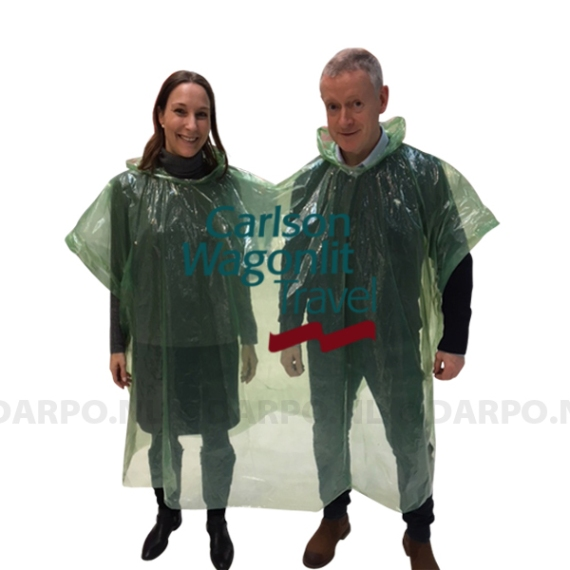 Duo regenponcho, poncho for two, bedrukken